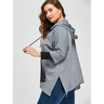 Plus Size Kangaroo Pocket Side Slit Hoodie - GRAY XL