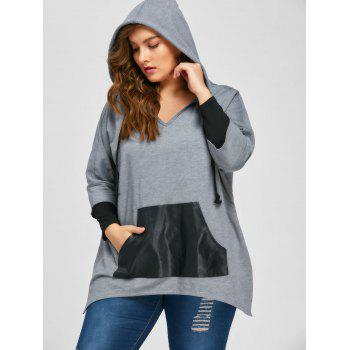 Plus Size Kangaroo Pocket Side Slit Hoodie - GRAY 2XL