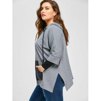 Plus Size Kangaroo Pocket Side Slit Hoodie - GRAY 5XL
