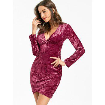 Plunging Neckline Velvet Mini Bodycon Dress - WINE RED L