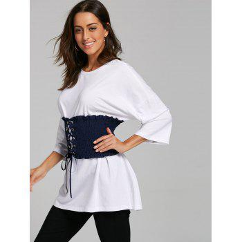 Corset Belt Drop Shoulder Tunic T-shirt - WHITE M