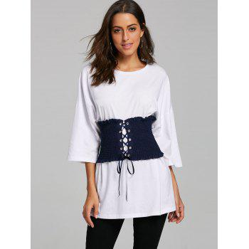 Corset Belt Drop Shoulder Tunic T-shirt - WHITE L