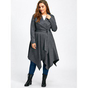 Plus Size Handkerchief Long Wool Coat - GRAY XL