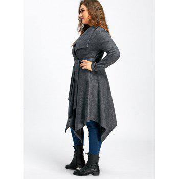 Plus Size Handkerchief Long Wool Coat - GRAY 3XL