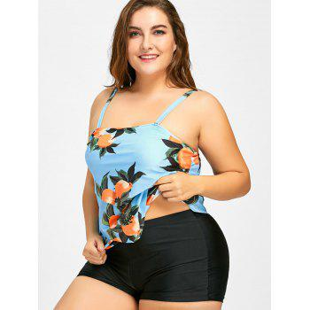 Plus Size Printed Tiered Tankini Set - LIGHT BLUE 5XL