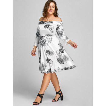 Plus Size Off The Shoulder Floral Print Dress - WHITE WHITE