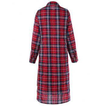 Long Sleeve Button Down Checked Dress with Tie - CHECKED 2XL