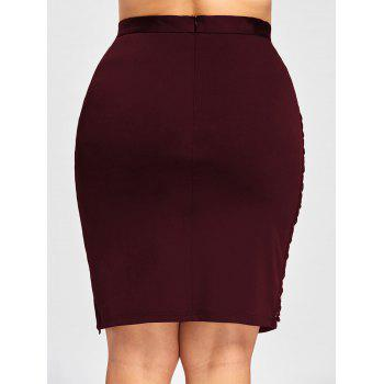 Plus Size Criss Cross Slit High Waist Skirt - WINE RED 5XL