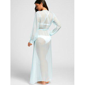 Flowy Maxi Cover Up Wrap Dress - LIGHT BLUE M