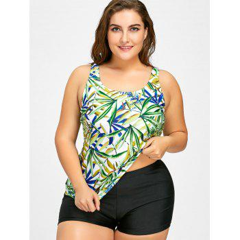 Plus Size Leaf Print Tankini Set - COLORMIX COLORMIX