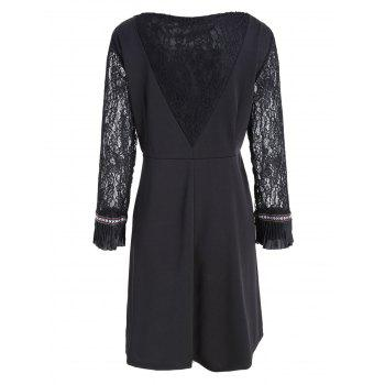 Lace Panel Bell Sleeve Plus Size Knee Length Dress - BLACK BLACK