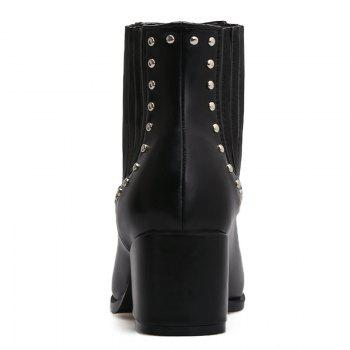 Stone Pattern Pointed Toe Rivets Bottes - Noir 37