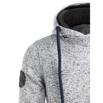 Zip Insert Patched Funnel Neck Hoodie - LIGHT GRAY XL