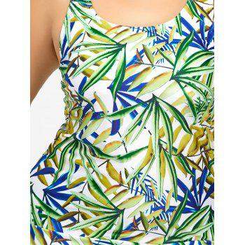 Plus Size Leaf Print Tankini Set - COLORMIX 4XL