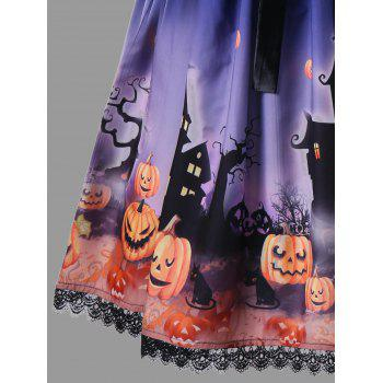 Halloween Plus Size Bowknot Embellished Vintage Dress - BLUE 5XL