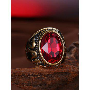 Vintage Faux Ruby Engraved Dragon Oval Ring - GOLDEN 8