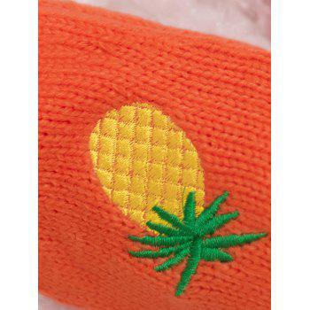Halloween Funny Pineapple Embroidery Fingerless Knitted Gloves - BEIGE
