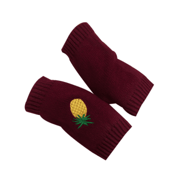 Halloween Funny Pineapple Embroidery Fingerless Knitted Gloves - WINE RED