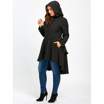 Plus Size Lace Up High Low Hooded Coat - BLACK 2XL