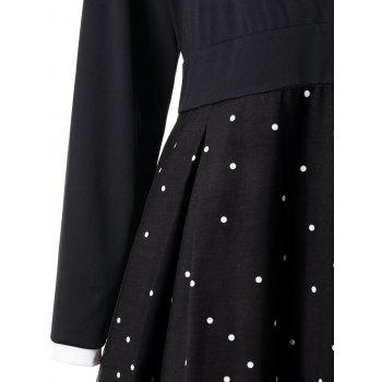 Plus Size Dot Print Long Sleeve Surplice Dress - BLACK XL