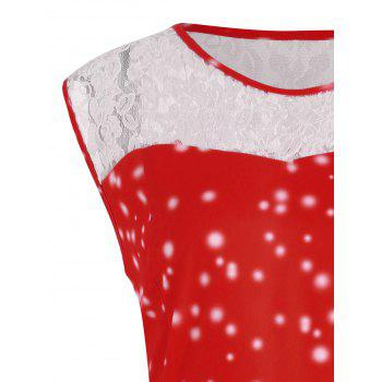 Plus Size Lace Panel Christmas Snow Vintage Ball Dress - RED 2XL