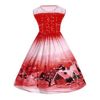 Plus Size Lace Panel Christmas Snow Vintage Ball Dress - RED XL