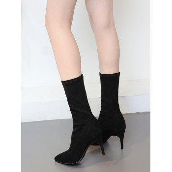 Stiletto Pointed Toe Mid Calf Boots - Noir 37