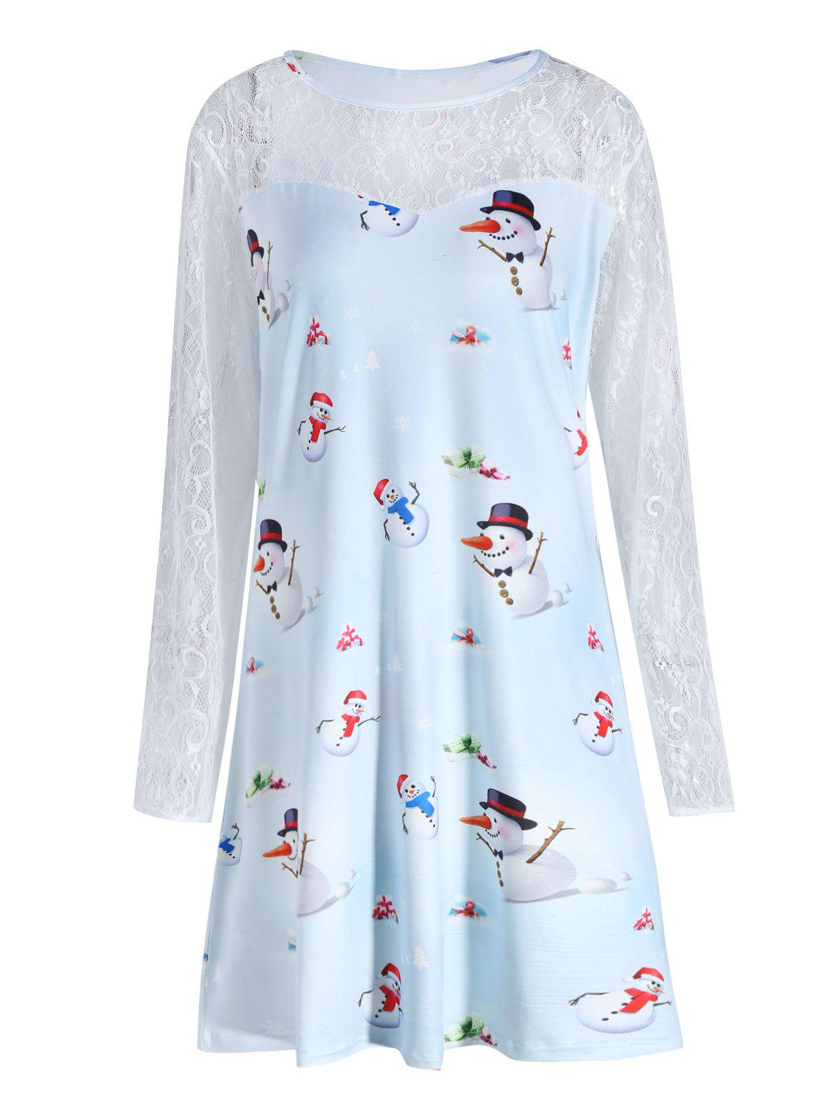 Plus Size Christmas Snowman Printed Lace Sleeve Dress - CLOUDY 4XL