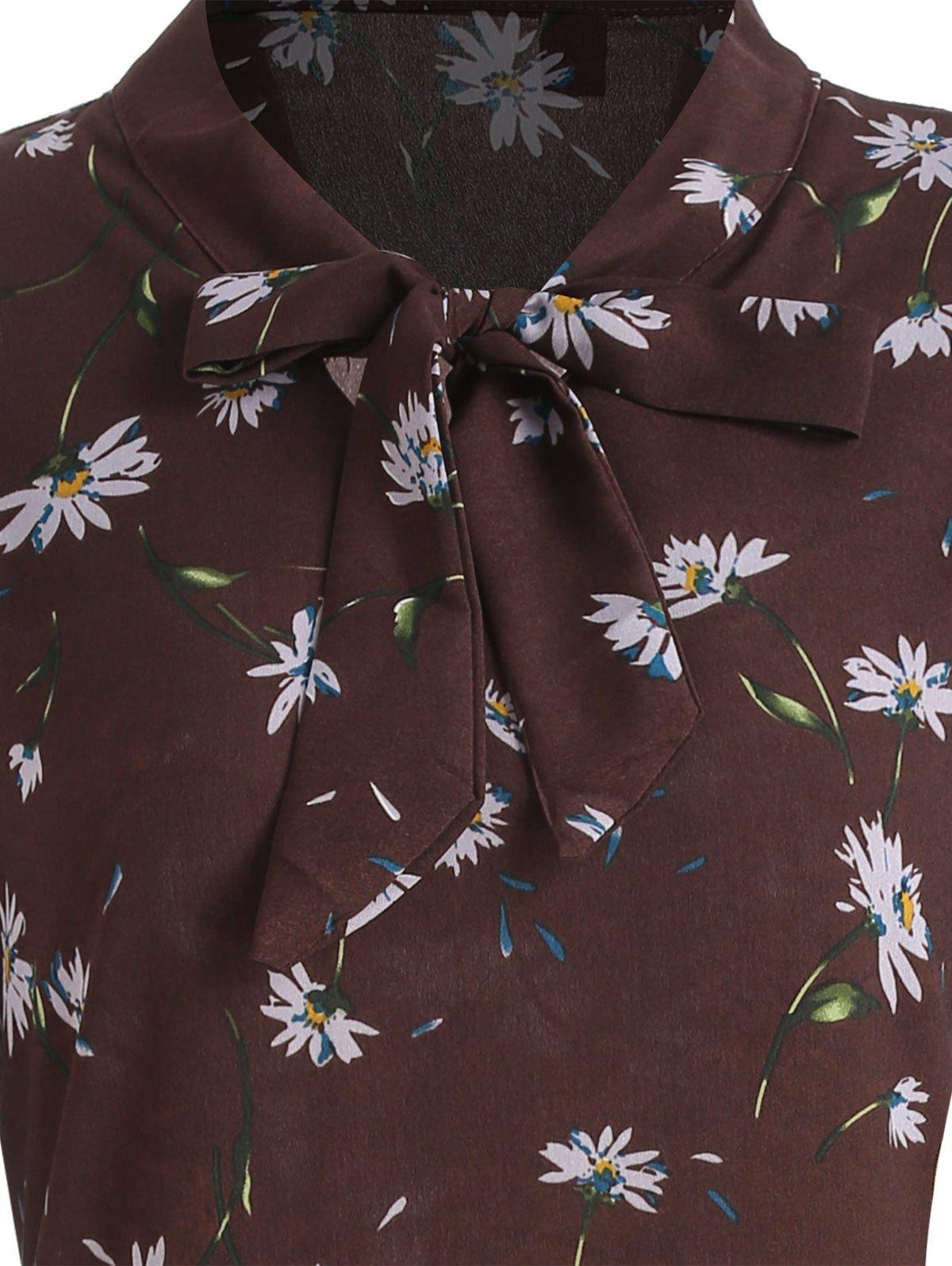 Plus Size Tiny Floral Long Sleeve Pussy Bow Dress - DEEP BROWN 4XL