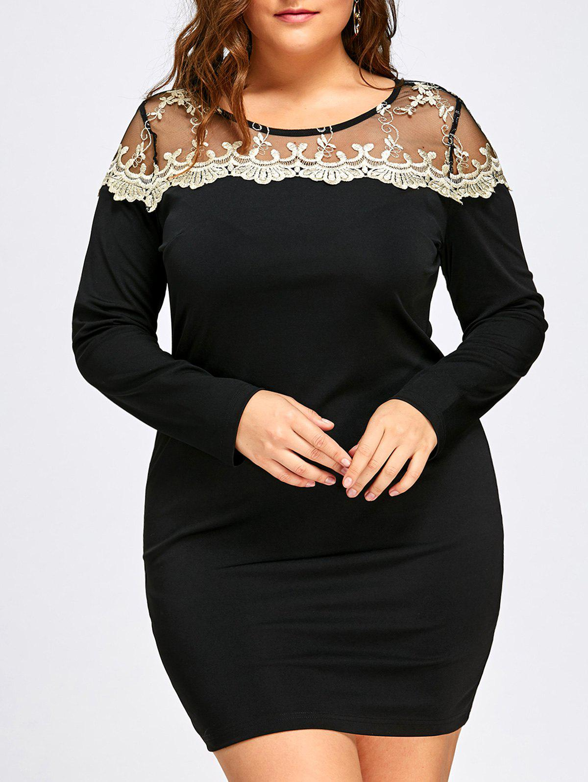 Plus Size Mesh Panel Mini Dress - BLACK 5XL