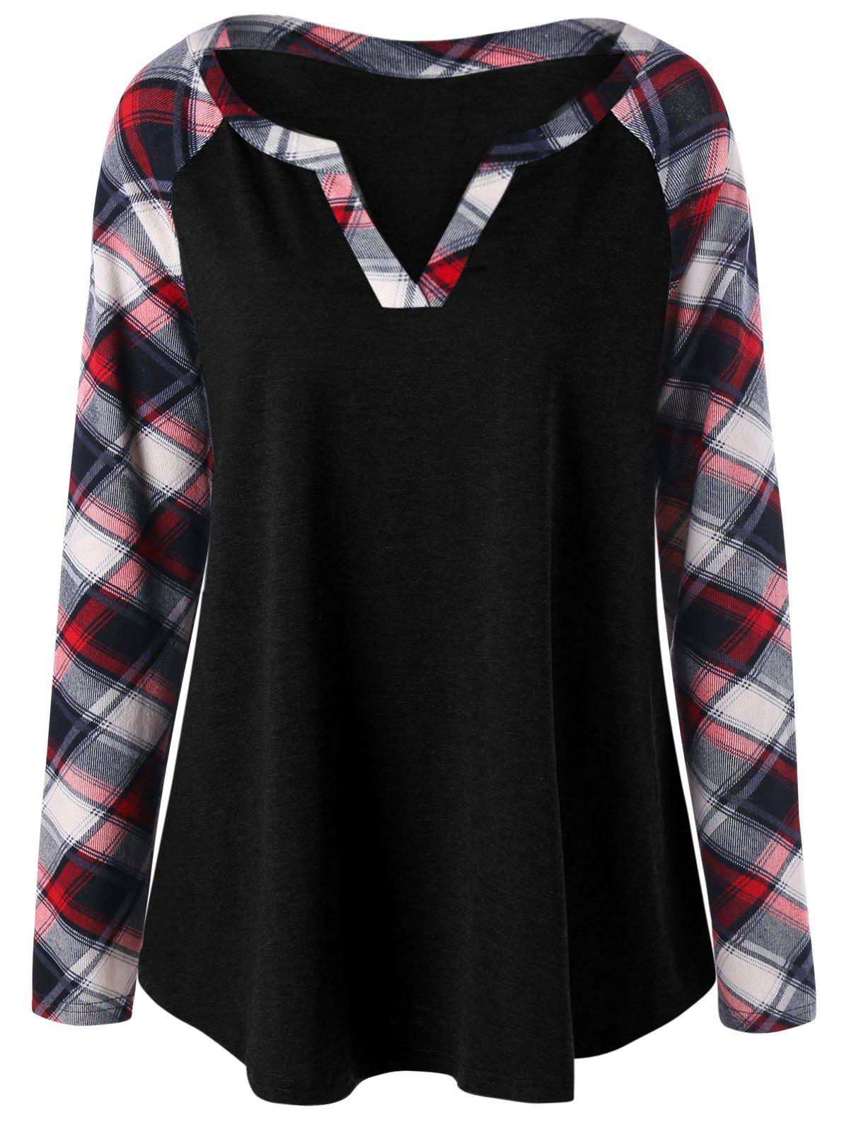 Plus Size Raglan Sleeve Plaid Top - BLACK 2XL