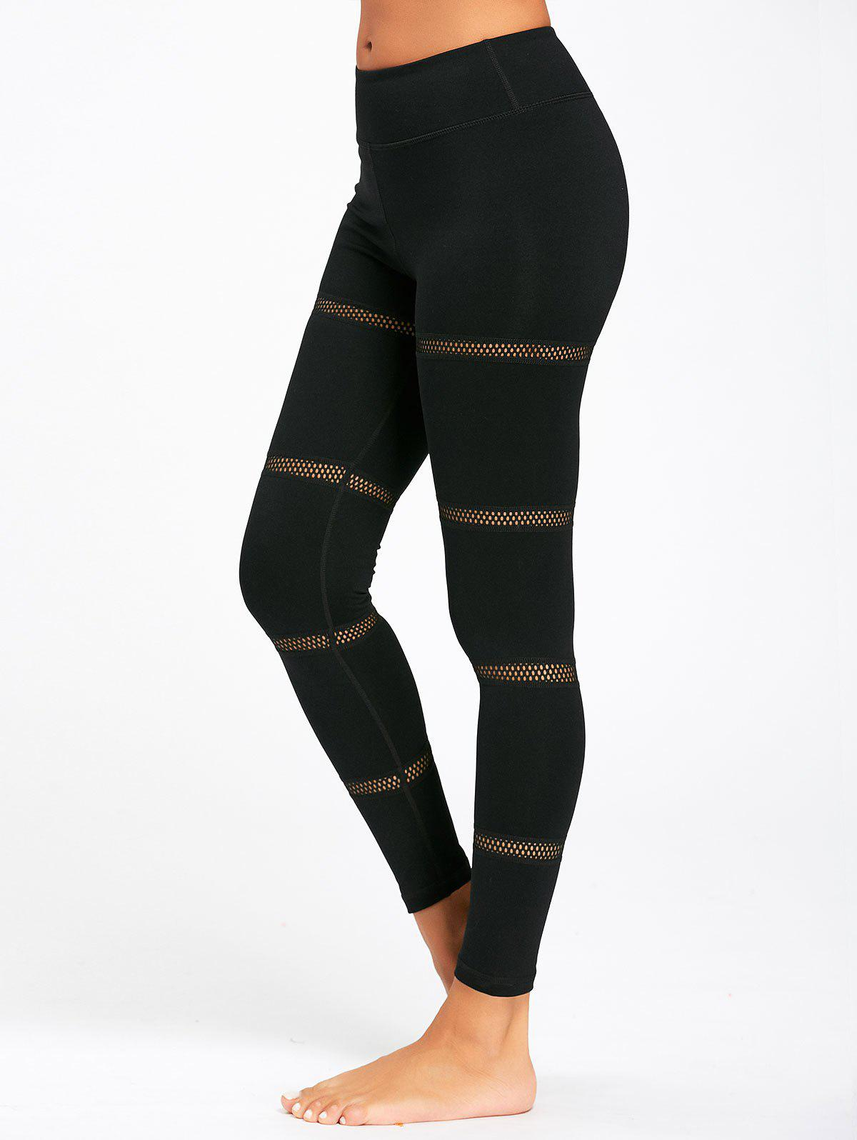 Openwork Mesh Panel Midi Waist Yoga Leggings - BLACK XL