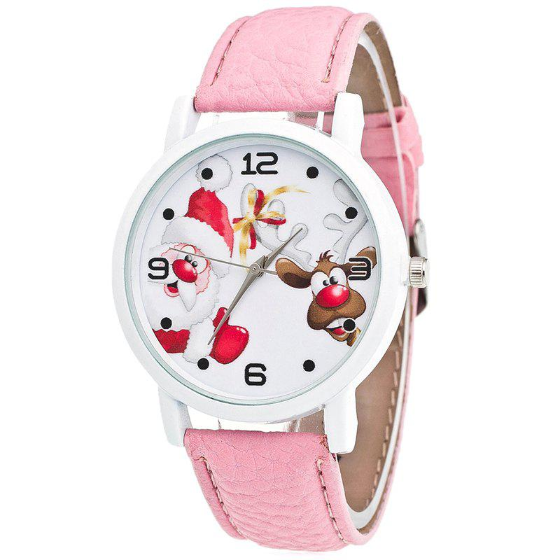 Christmas Santa Deer Pattern Quartz Watch - PINK