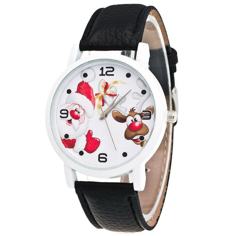 Christmas Santa Deer Pattern Quartz Watch - BLACK