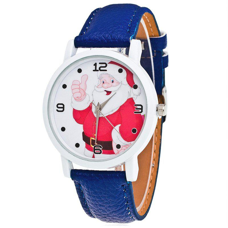 Christmas Santa Claus Face Number Watch - BLUE