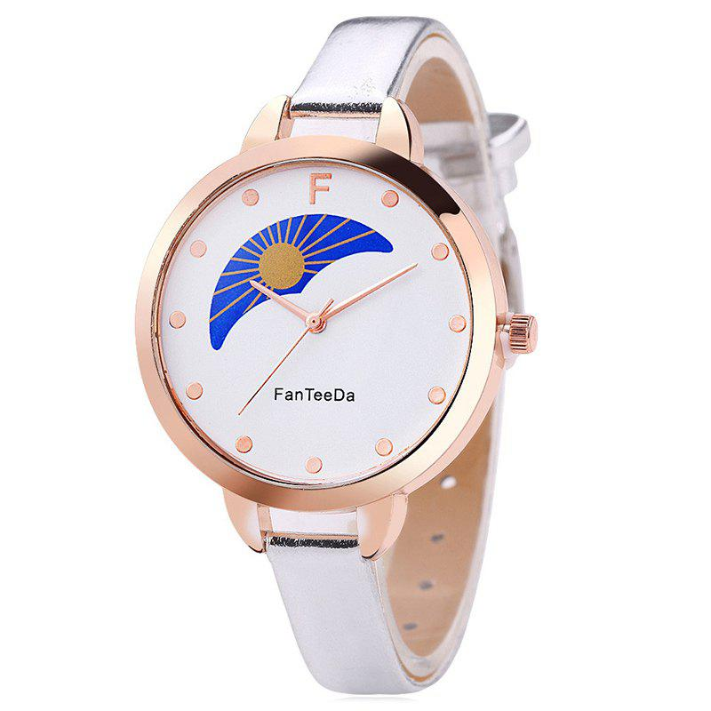 F Letter Faux Leather Analog Watch - SILVER
