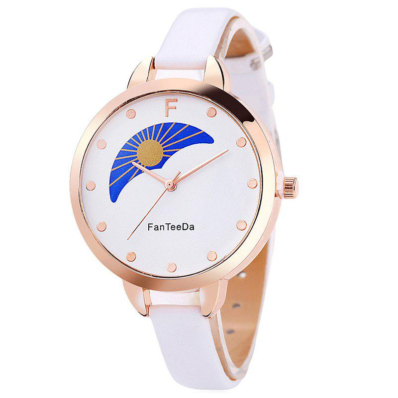 F Letter Faux Leather Analog Watch - WHITE