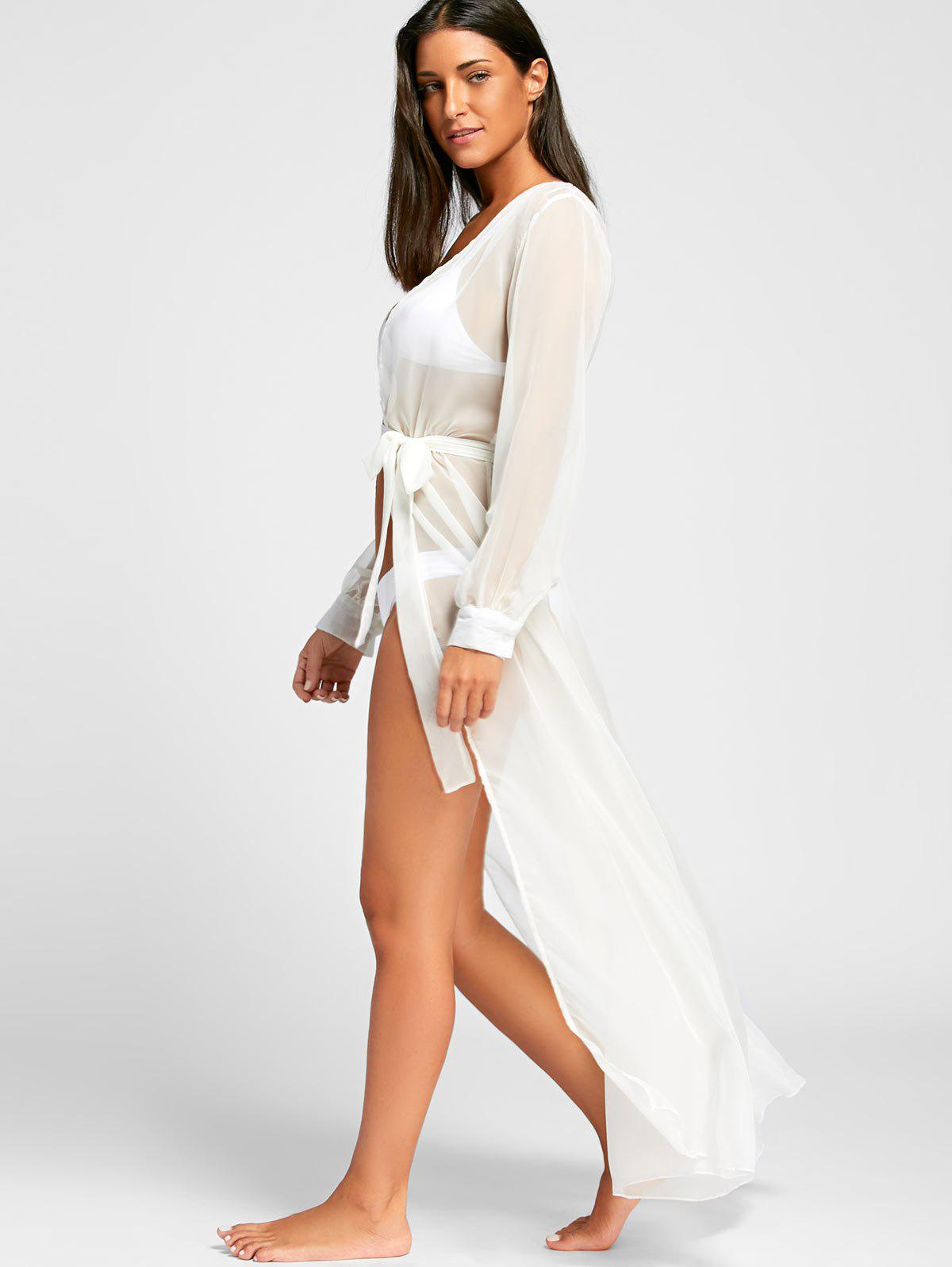 Flowy Maxi Cover Up Wrap Dress - WHITE S