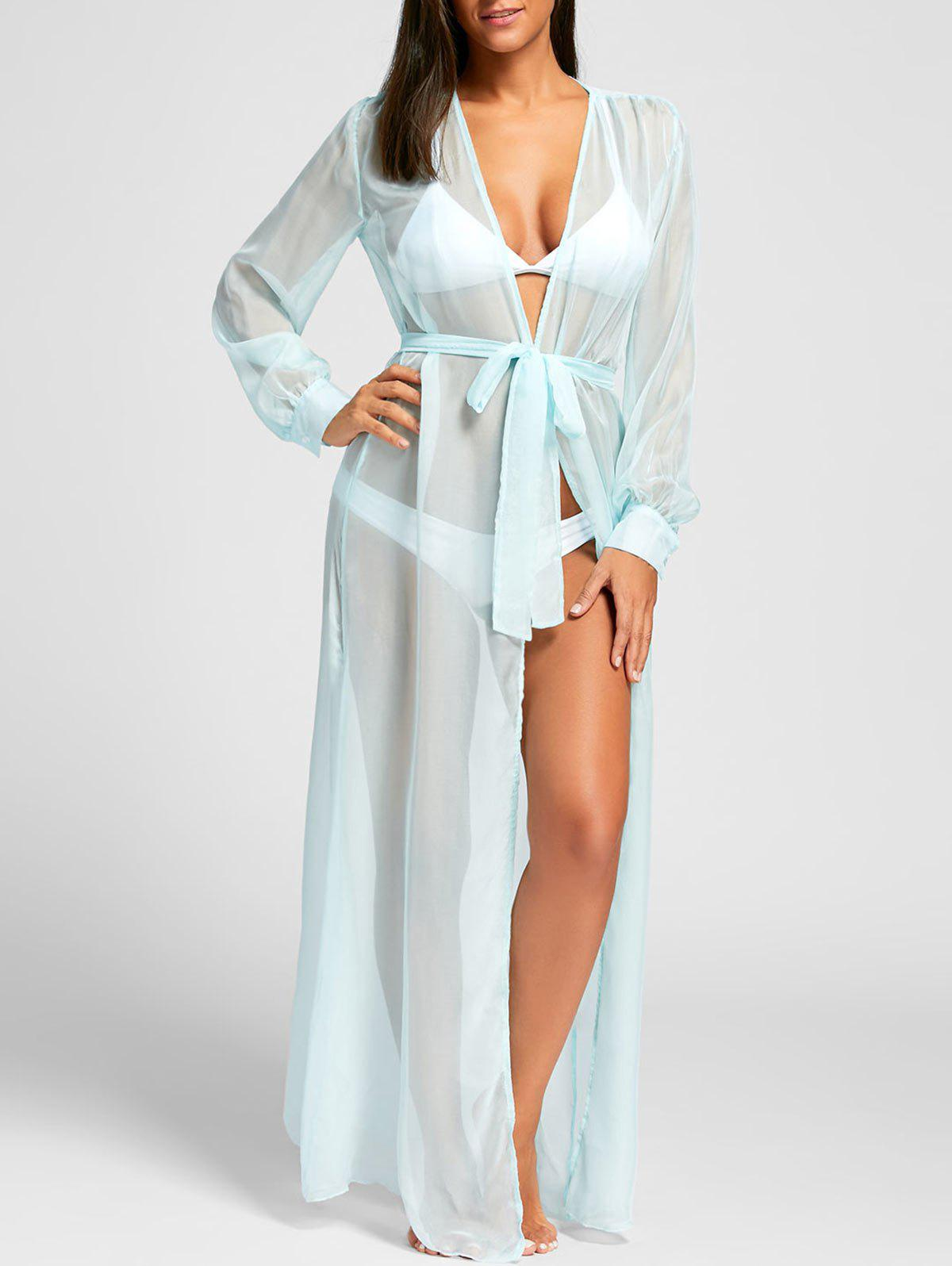 Flowy Maxi Cover Up Wrap Dress - LIGHT BLUE L