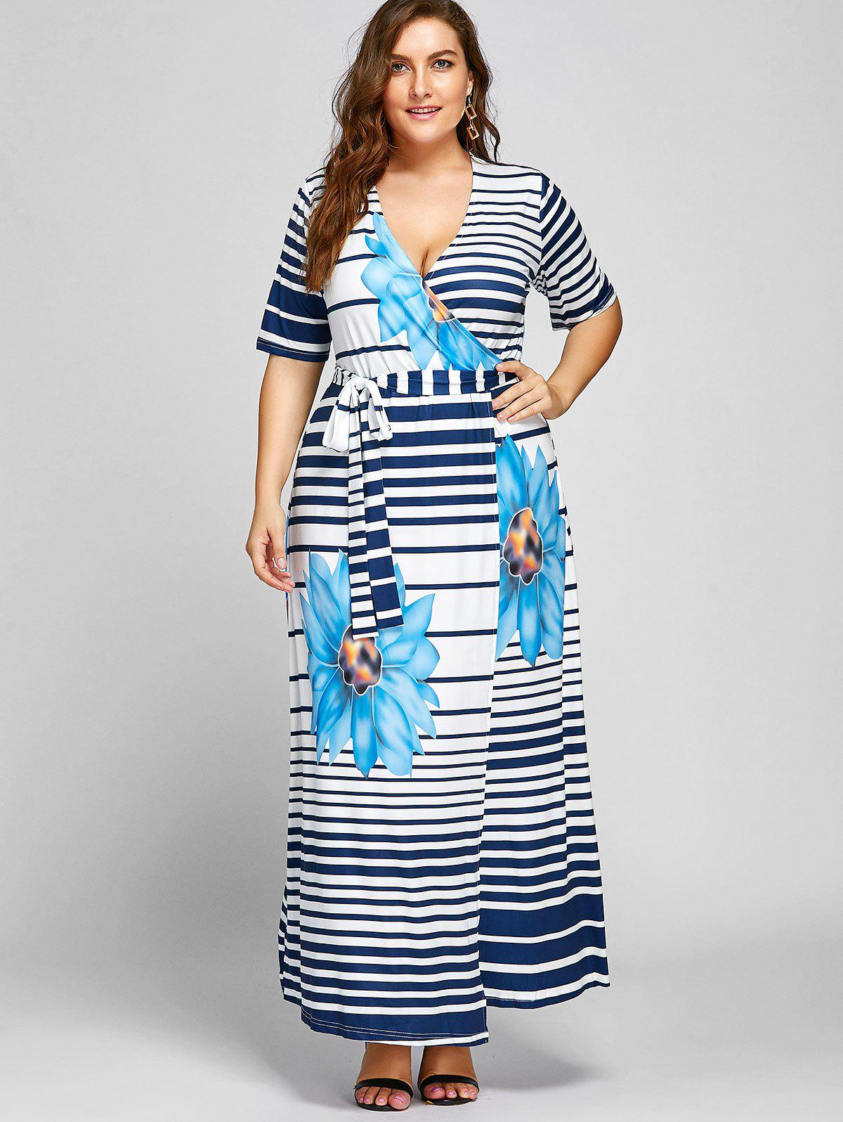 Plus Size Stripe Floral Maxi High Slit Dress - BLUE 6XL