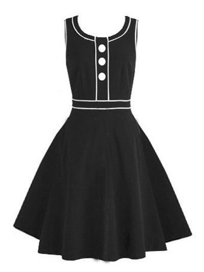 Vintage Buttoned Pinup Swing Dress - BLACK 2XL