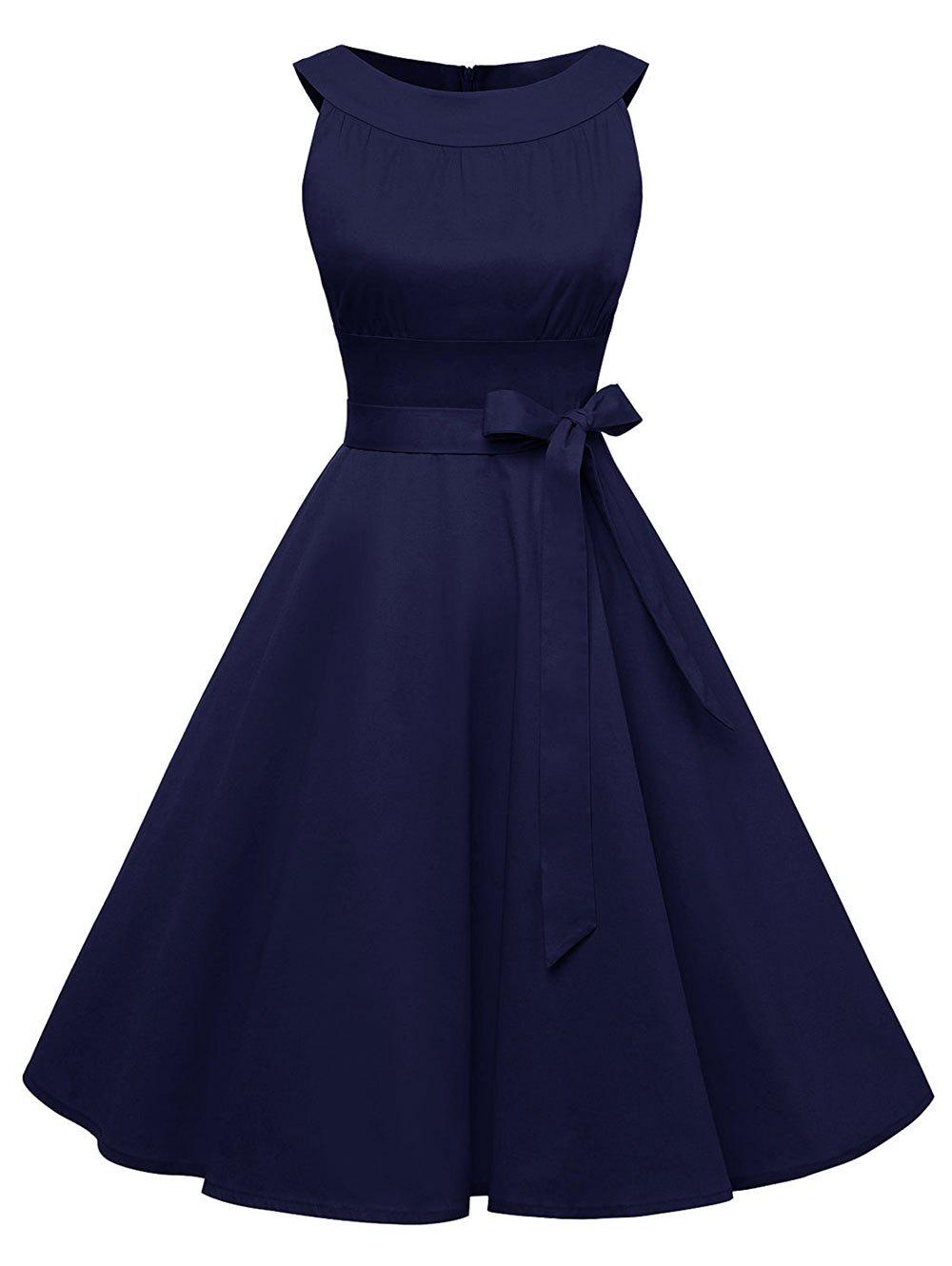 Vintage Belted Pin Up Swing Dress - DEEP BLUE 2XL