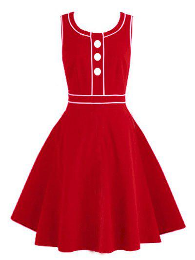 Vintage Buttoned Pinup Swing Dress - RED S