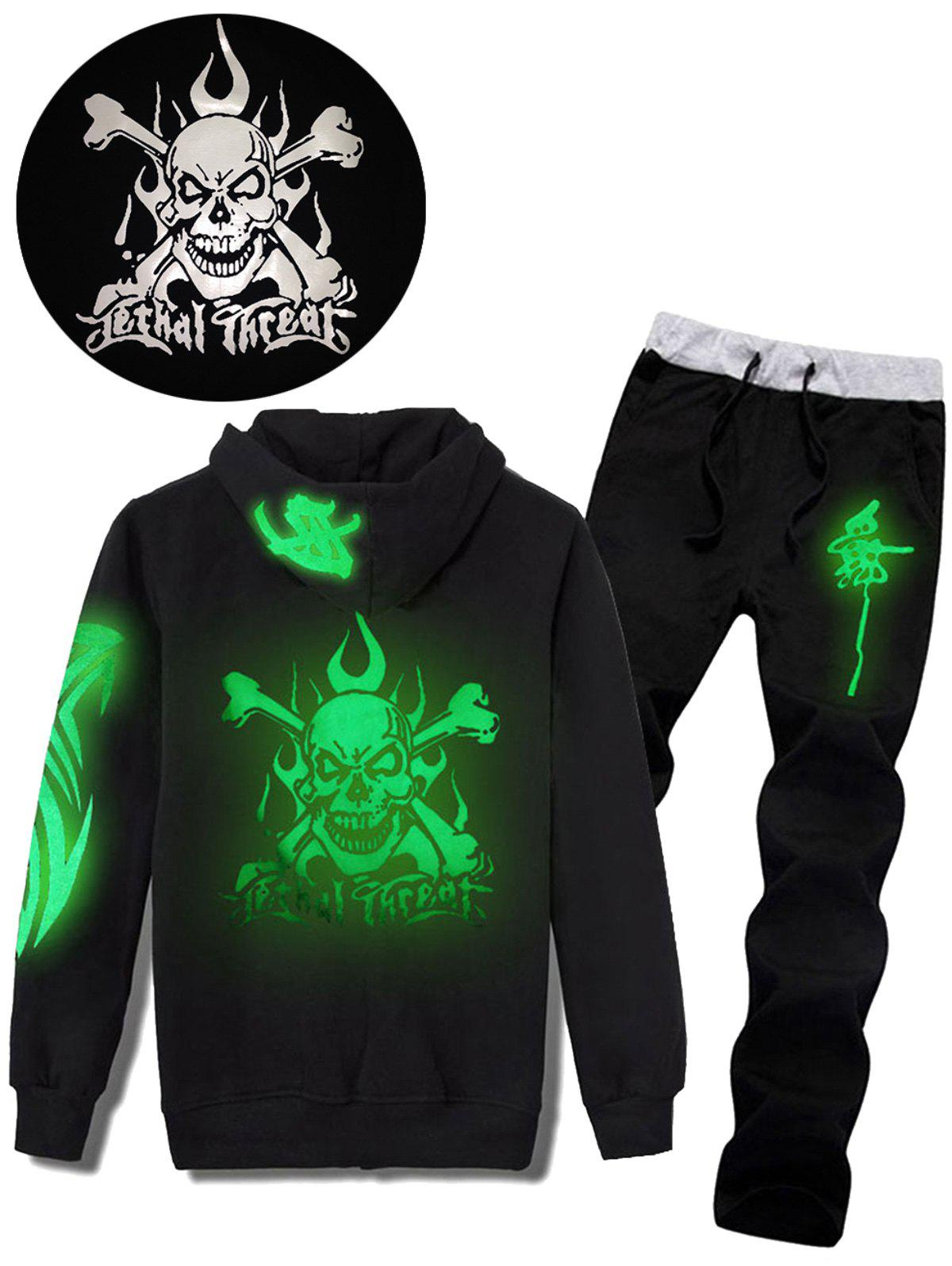Skull Graphic Luminous Print Hoodie and Pants Twinset - BLACK XL