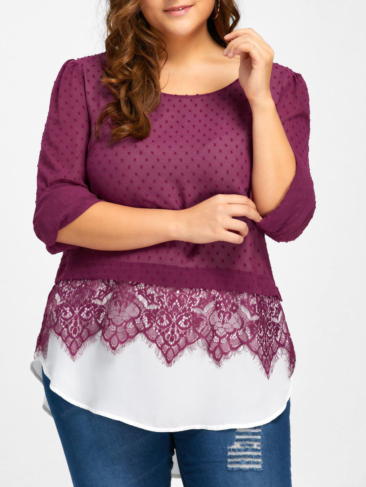 Plus Size Swiss Dot Lace Trim Blouse - PURPLISH RED 5XL