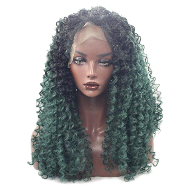 Longue partie gratuite Fluffy Afro Deep Curly Synthetic Lace Front Wig - multicolorcolore