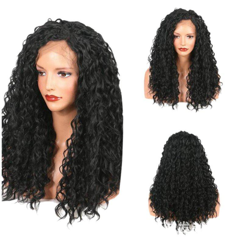 Longue partie gratuite Fluffy Loose Curly Synthetic Lace Front Wig - Noir