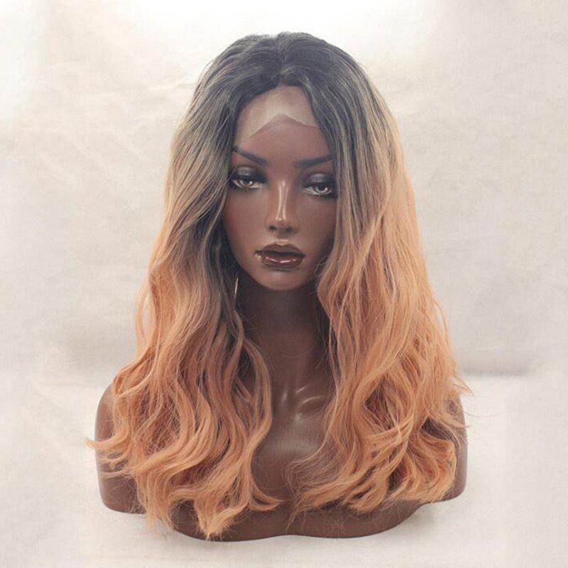 Longue partie médiane Ombre Shaggy Loose Wave Synthetic Lace Front Wig - multicolore