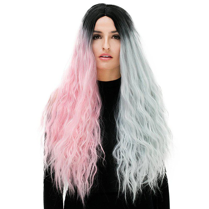 Long Middle Part Fluffy Color Block Natural Wavy Synthetic Party Wig - COLORFUL