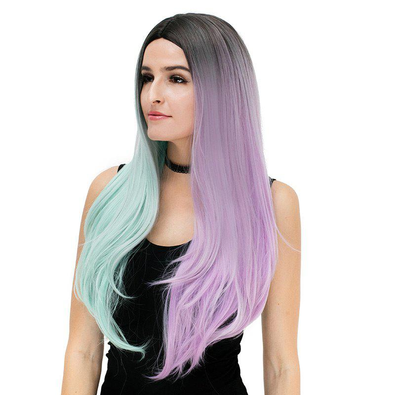 Longue partie médiane Ombre Color Block Straight Party Synthetic Wig - coloré